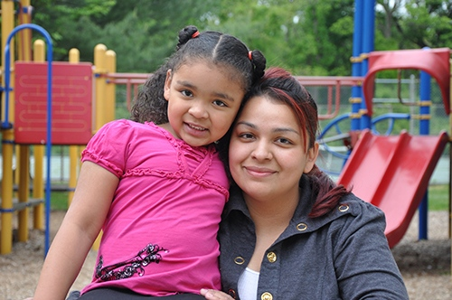 Foster care child and carer enjoying a happy lifestyle